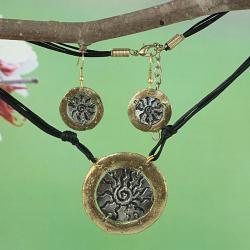 Handcrafted 2-Tone Pewter SunBurst Medallion Necklace & Earrings Set (India)