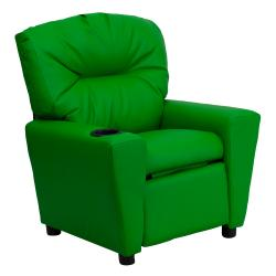 Flash Furniture Contemporary Green Vinyl Kids Recliner with Cup Holder