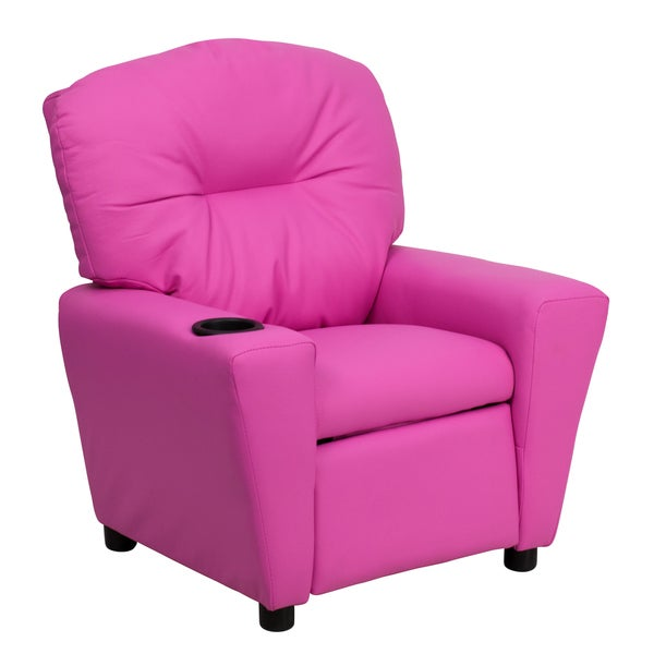 Flash Furniture Contemporary Hot Pink Vinyl Kids Recliner with Cup Holder 9089857