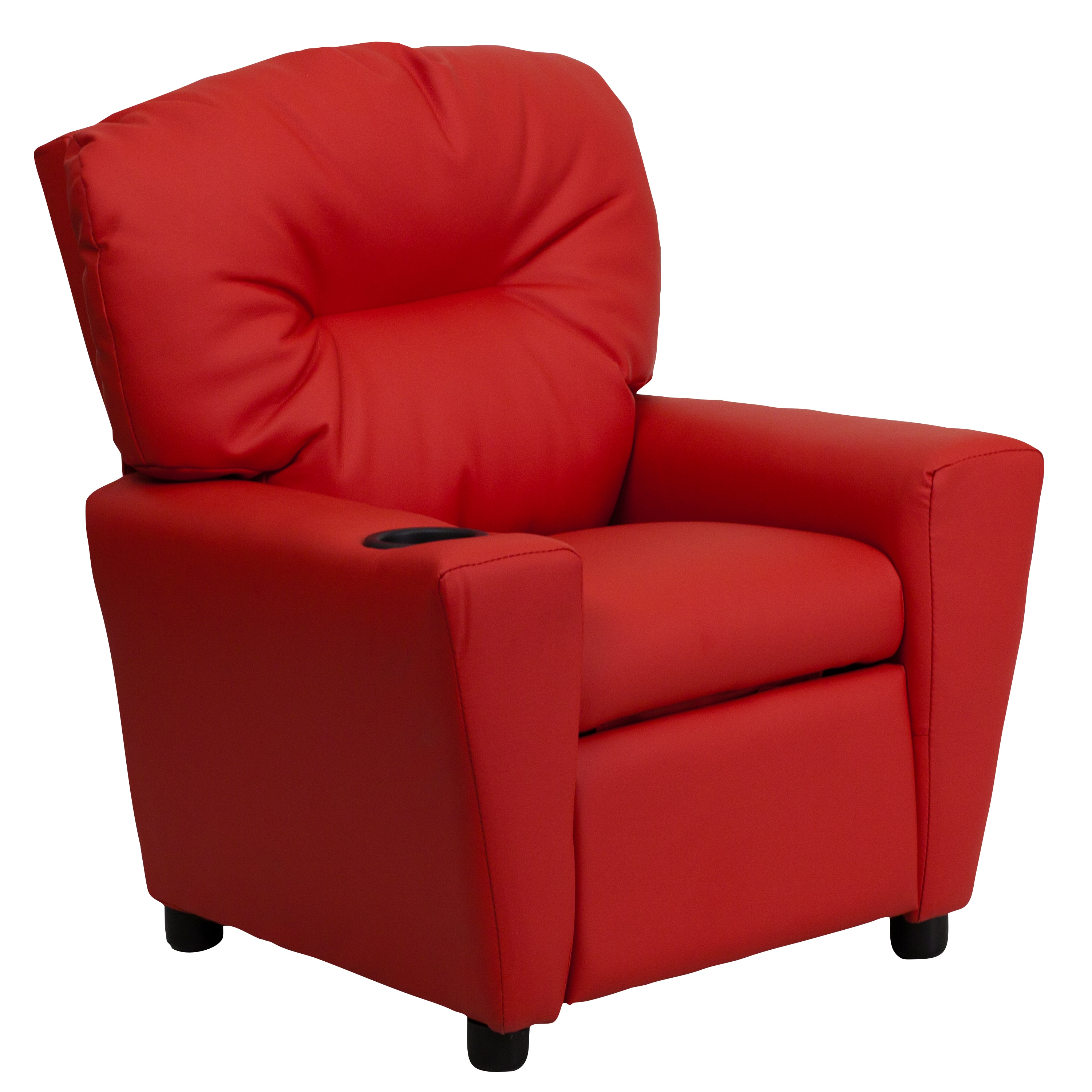 Red vinyl kids recliner cup holder furniture home chair for Kids overstuffed chair