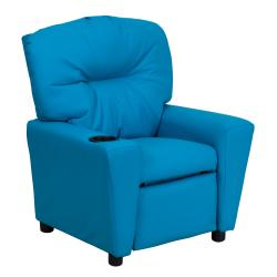 Flash Furniture Contemporary Turquoise Vinyl Kids Recliner with Cup Holder