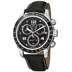 Tissot Men's 'V 8' Black Dial Black Leather Strap Chronograph Watch