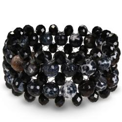350ct TGW Agate and Black Crystal Stretch Bracelet
