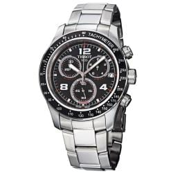 Tissot Men's 'V 8' Black Dial Stainless Steel Chronograph Quartz Watch