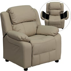 Deluxe Heavily Padded Contemporary Beige Vinyl Kids Recliner with Storage Arms