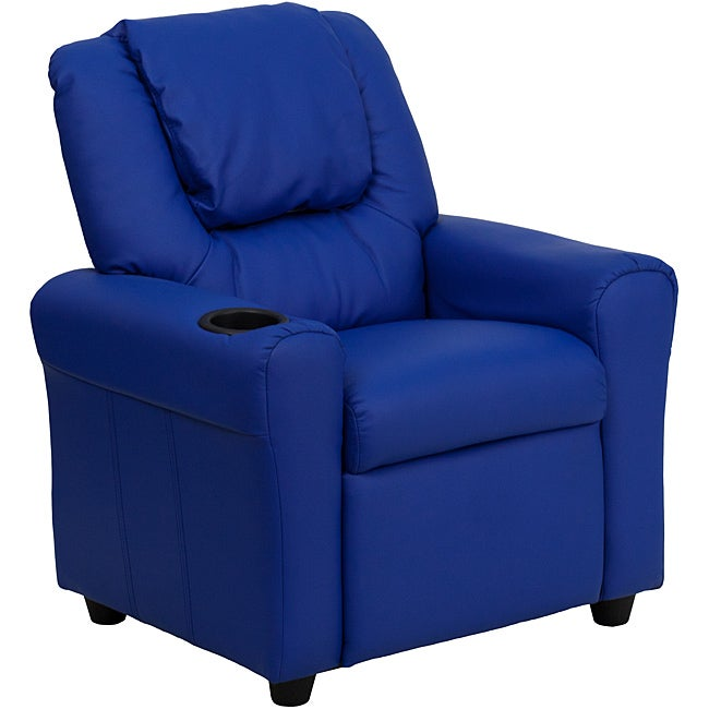 Contemporary Blue Vinyl Kids Recliner With Cup Holder And