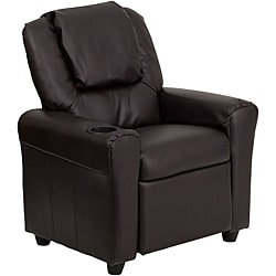 Contemporary Brown Vinyl Kids Recliner with Cup Holder and Headrest