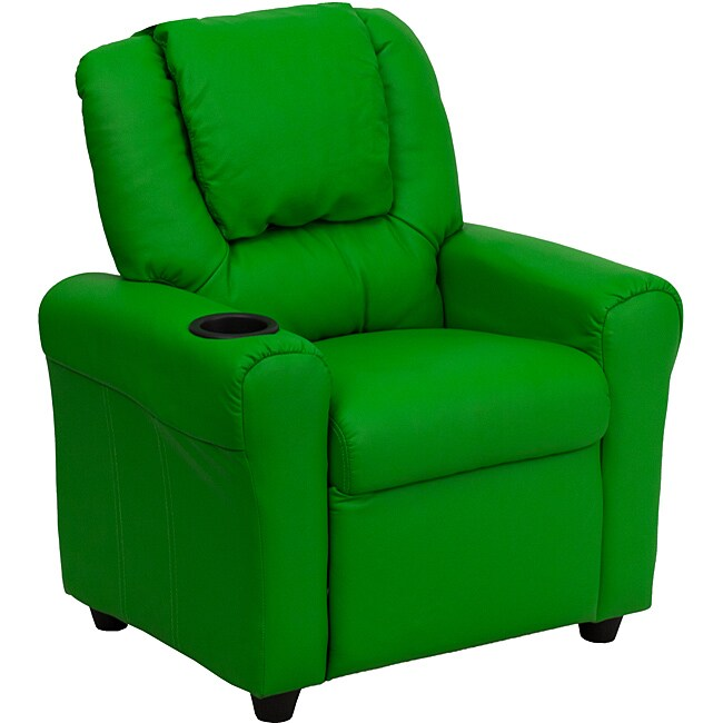 Green Vinyl Kids Recliner Cup Holder Headrest Furniture