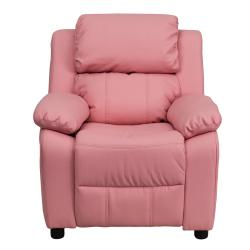 Deluxe Heavily Padded Contemporary Pink Vinyl Kids Recliner with Storage Arms