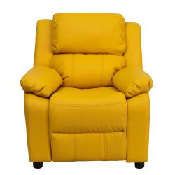 Deluxe heavily padded contemporary yellow vinyl kids for Addin chaise recliner