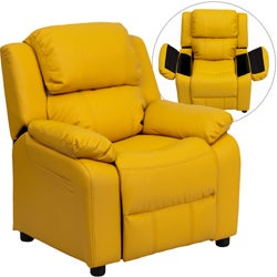 Deluxe Heavily Padded Contemporary Yellow Vinyl Kids Recliner with Storage Arms