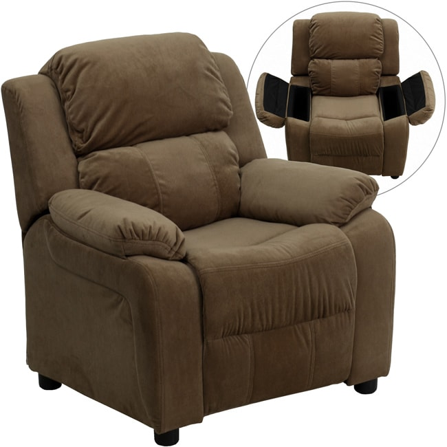 Deluxe heavily padded contemporary brown microfiber kids for Kids recliner chair