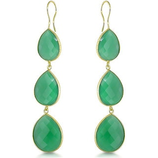 Miadora 22k Goldplated Silver 60ct TGW Green Onyx Dangle Earrings