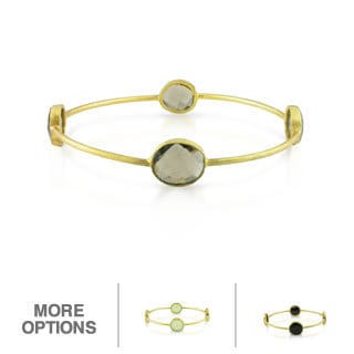 Miadora 22k Gold over Silver 16ct TGW Gemstone Bangle Bracelet