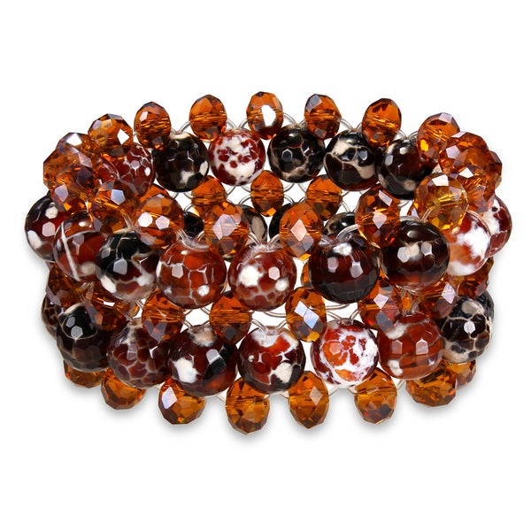 M by Miadora 350ct TGW Agate and Crystal Stretch Bracelet