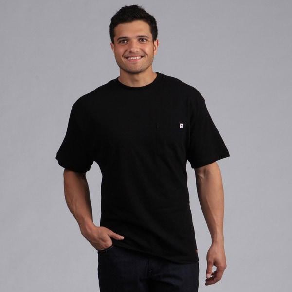 Farmall IH Men's Black Cotton Crew-Neck Pocket T-shirt