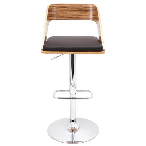 LumiSource Vino Zebra Bent Wood Barstool