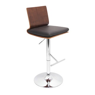 LumiSource Koko Walnut Bent Wood Adjustable Barstool