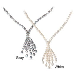 Miadora White or Grey Freshwater Pearl Tassel Necklace (6-6.5 mm)