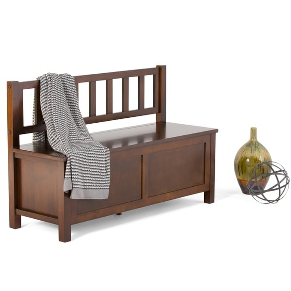 WYNDENHALL Stratford Auburn Brown Entryway Storage Bench