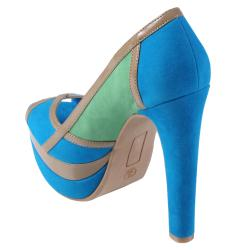Journee Collection Women's 'Nest-23' Open Toe Multi-color Pumps