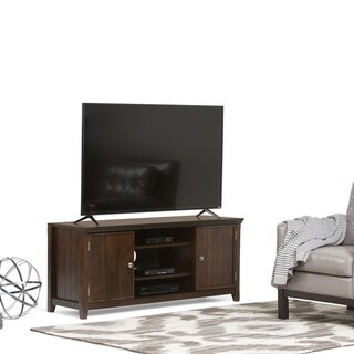 """WYNDENHALL Normandy SOLID WOOD 54 inch Wide Rustic TV Media Stand in Tobacco Brown For TVs up to 60 inches - 54""""w x 17""""d x 23"""" h"""