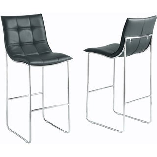 Black/ Chrome Metal Barstools (Set of 2)