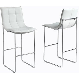 White/ Chrome Metal Barstools (Set of 2)