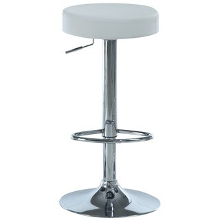 White/ Chrome Metal Hydralic Lift Barstools (Set of 2)