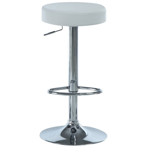 White/ Chrome Metal Hydralic Lift Barstools (Set of 2)