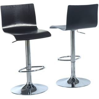 Black/ Chrome Bentwood Hydraulic Lift Barstool (Set of 2)
