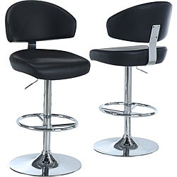 Black/Chrome Metal Hydraulic-Lift Swivel Barstool