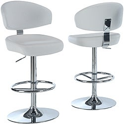 White/Chrome Metal Hydraulic-Lift Barstool