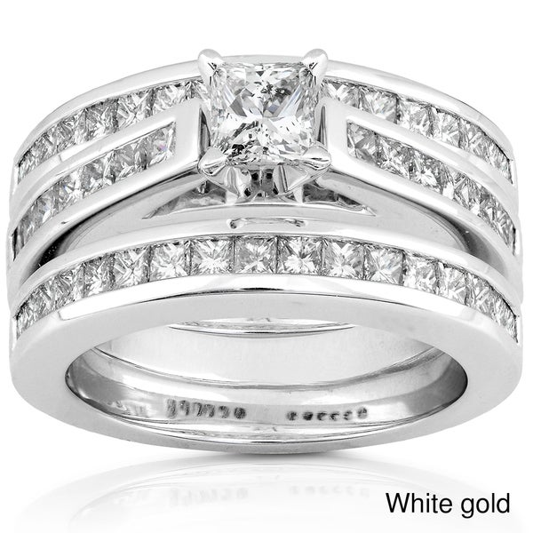 Annello 14k Gold 2ct TDW Diamond 3-piece Bridal Ring Set (H-I, I1-I2)