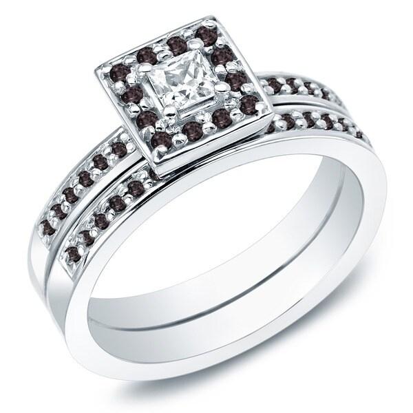 Auriya 14k Gold 1/2ct TDW Princess Black and White Diamond Bridal Ring Set (H-I, I1)