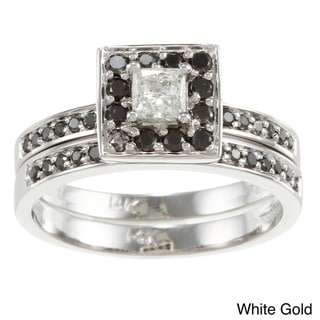 Auriya 14k Gold 1/2ct TDW Princess Black and White Diamond Bridal Ring Set (H-I, I1)