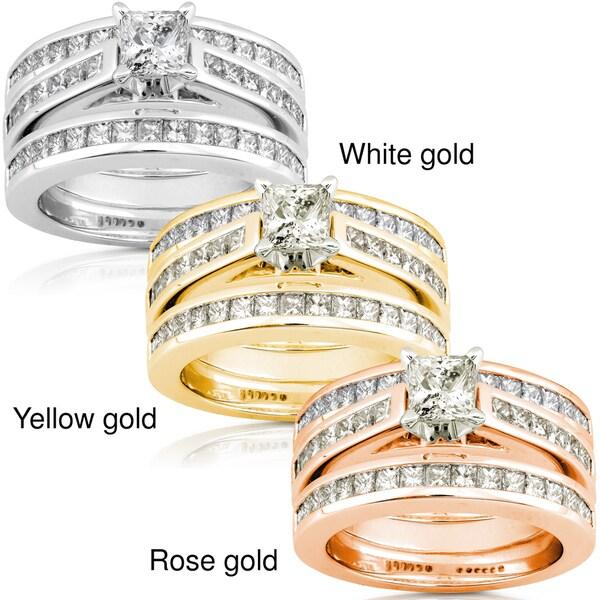 Annello 14k Gold 2 1/3ct TDW Diamond 3-piece Bridal Ring Set (H-I, I1-I2)