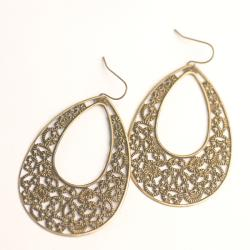Antique-Gold Metal Lattice Tear Drop Earrings (China)