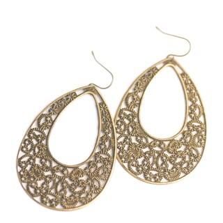 Antique Gold Metal Lattice Teardrop Earrings (China)