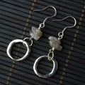 Light Gray Labradorite and Silver Hoop Earrings (China)