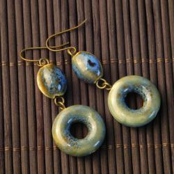 Blue-Green Ceramic Beaded Earrings (China)