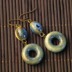 Blue-Green Ceramic Beaded Earrings (China)