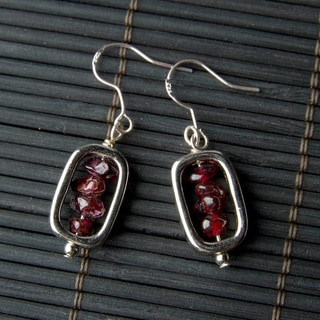 Garnet Rectangular Earrings (China)