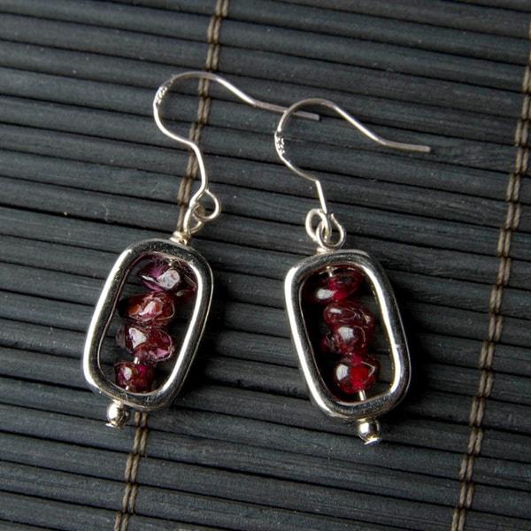 Garnet Rectangular Earrings (China)