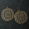 Circular Brass Metal Lattice Pendant Earrings (China)