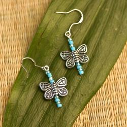 Blue Butterfly Pendant Earrings (China)