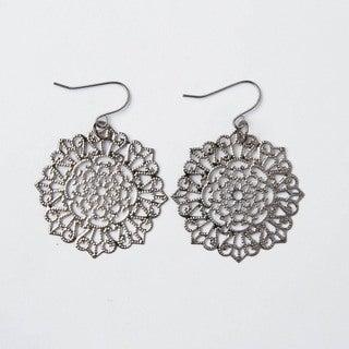 Shimmering Gray Circular Lattice Earrings (China)