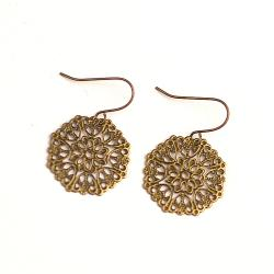 Antique-Gold Metal Small Circular Earrings (China)