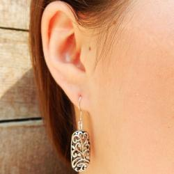 Silver Oval Bali Filigree Metal Earrings (China)