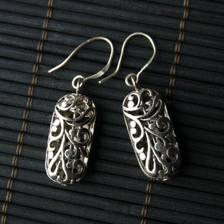 Silver-tone Oval Filigree Metal Earrings (China)
